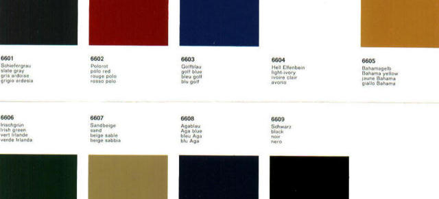 derwhite s website porsche 911 912 color chart dated 1965