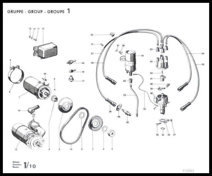 bosch electrical parts for 356 porsches part diagram 1 10 in the engine section of the 356 b t 5 factory parts book